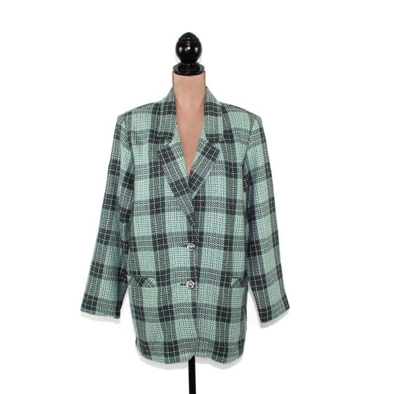 25fd56d6df1 Mint Green Plaid Blazer Women XL Long Wool Blazer 80s