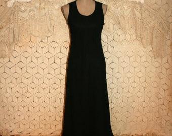 Long Black Dress Sleeveless Chiffon Maxi Goth Gothic Wedding Dress With Train Small Medium Vintage Clothing Womens Clothing