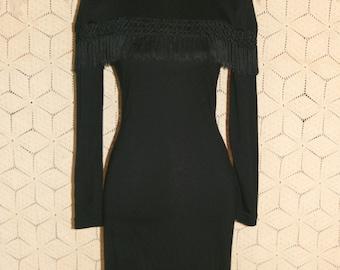 Vintage 80s Dress Black Long Sleeve Dress Goth Wiggle Dress Fringe Dress Bodycon Short Black Dress Size 2 Size 4 XS Small Womens Clothing