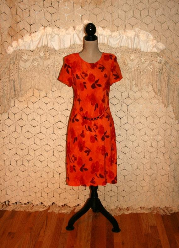 8cf745a046be 90s Orange Floral Dress Women Medium Rayon Short Sleeve Midi