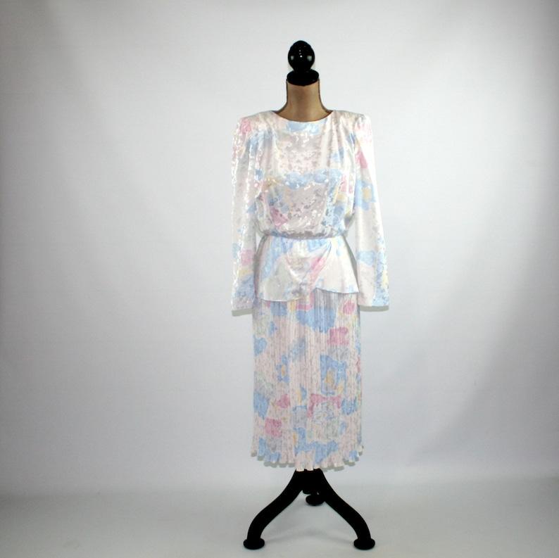 Accordion Pleated Peplum Pastel Abstract Print 70s Long Sleeve Satin Midi Dress Small Petite Vintage Clothing ILGWU 1970s Clothes Women