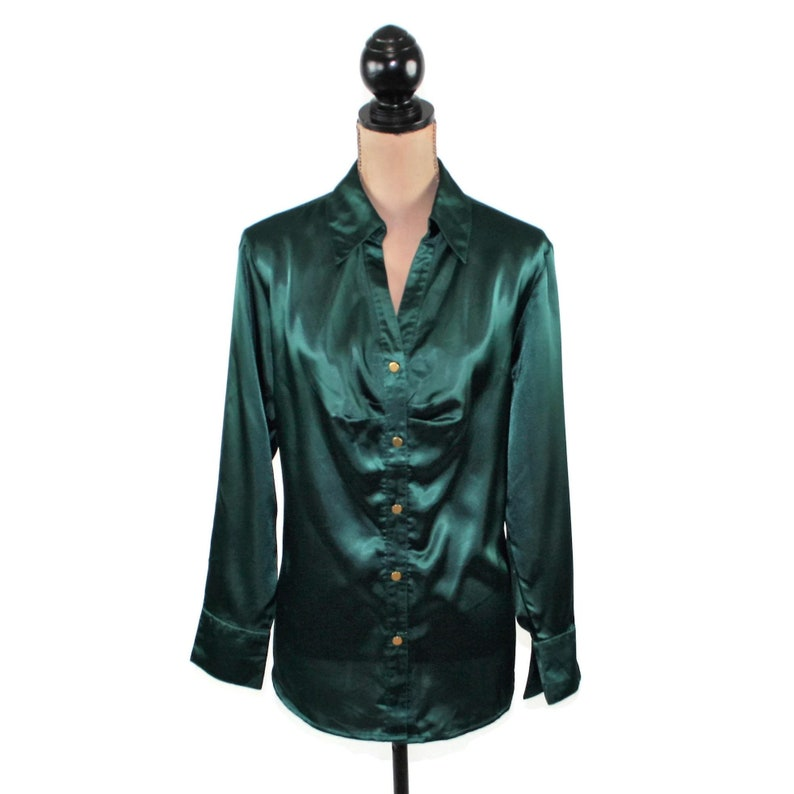 86032dca1c Green Satin Blouse Plus Size 16 Long Sleeve Green Blouse XL