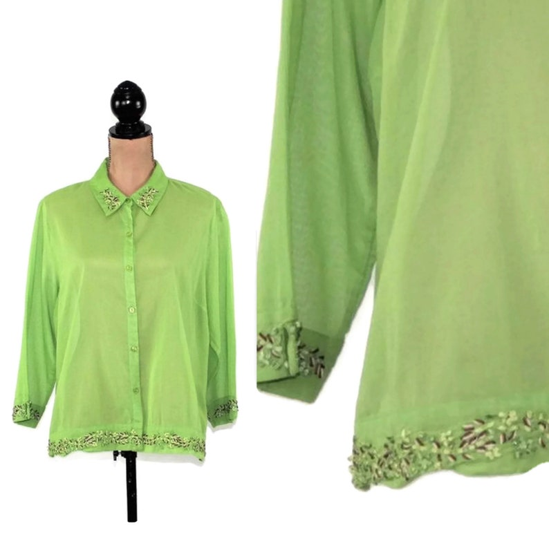 f2c067d176e97 90s 3 4 Sleeve Button Up Blouse Green Cotton Shirt Women XL