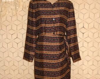 Long Sleeve Silk Dress Wrap Dress Fall Winter Floral Stripe Dress Blue Brown Size 8 Dress Medium Chaus Vintage Clothing Womens Clothing
