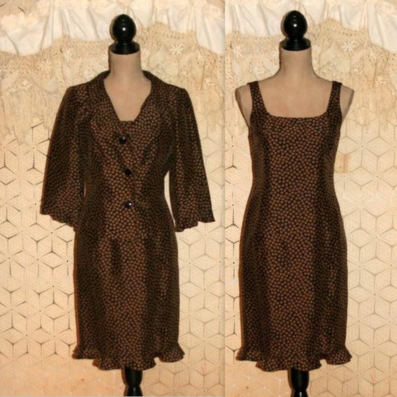 97ed67f730 Brown Silk Dress Size 8 Fall Cocktail Dress 2 Piece Suit Dress