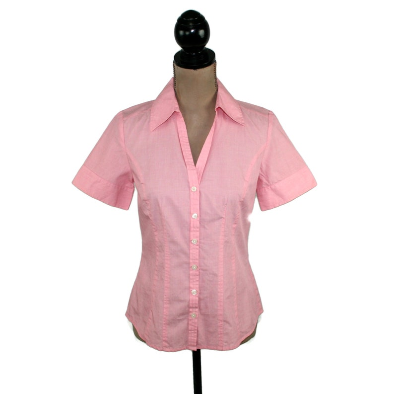 9e7fc7031cdf Short Sleeve Button Up Shirt Women XS Small Light Pink Cotton | Etsy