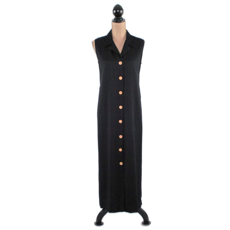 3bf7d85577e 90s Sleeveless Maxi Dress Long Black Button Up Dress Women