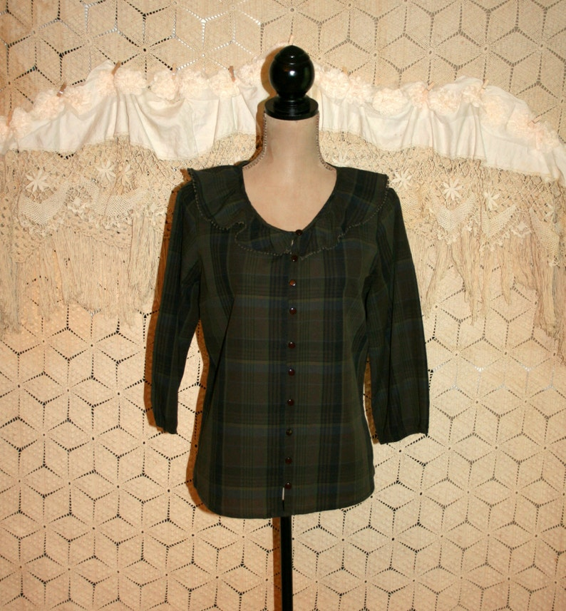 1568837904dc4 Olive Green Plaid Top Cotton Blouse Soft Grunge Ruffle Collar