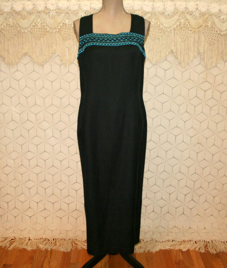 4541c65d753 Black Linen Dress Sleeveless Maxi Petite Large XL Turquoise
