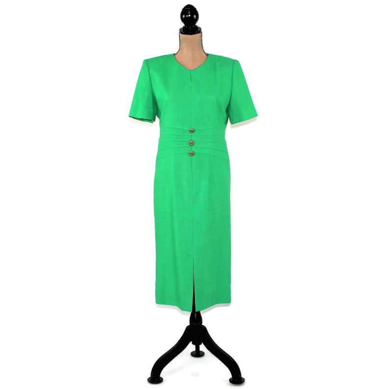 80s Bright Green Dress Medium 1980s Clothes Women Short Sleeve Midi Spring Secretary Modest Day Vintage Clothing from Henry Lee Size 8