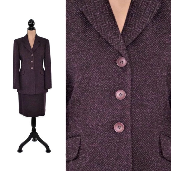 Suits & Suit Separates Lavia Brown And Lavender Woven Knit Double Button Silk Wool Blend Blazer Sz Xl Always Buy Good