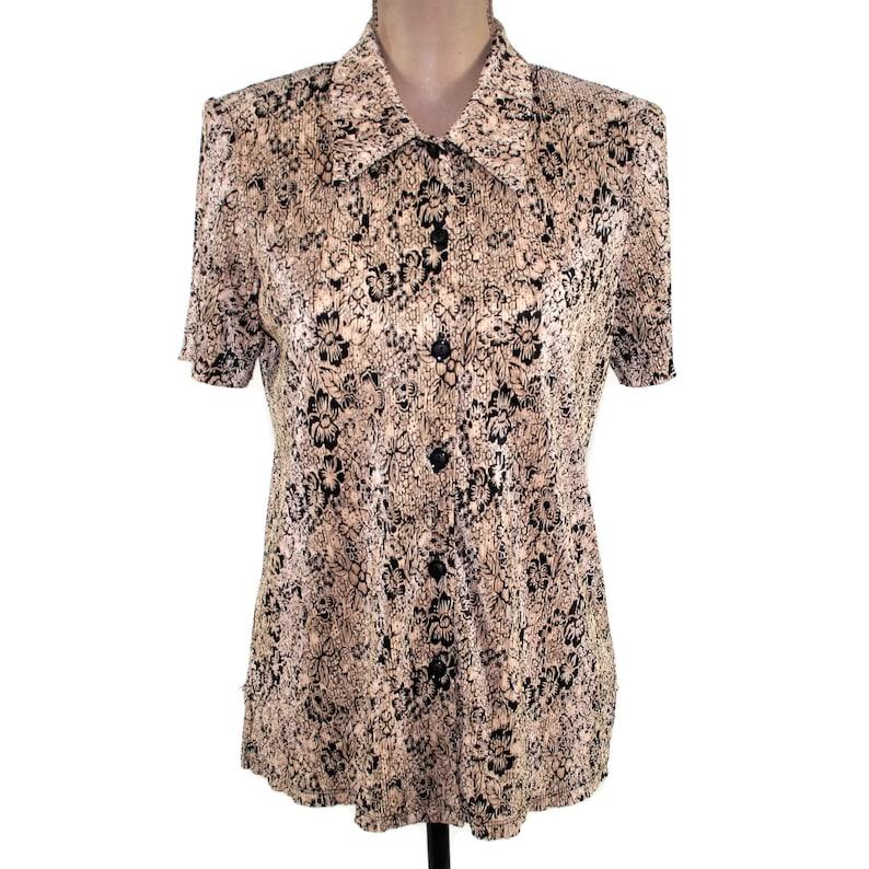 e8f4649f322d Short Sleeve Blouse Women Medium Floral Shirt Button Up Collar | Etsy
