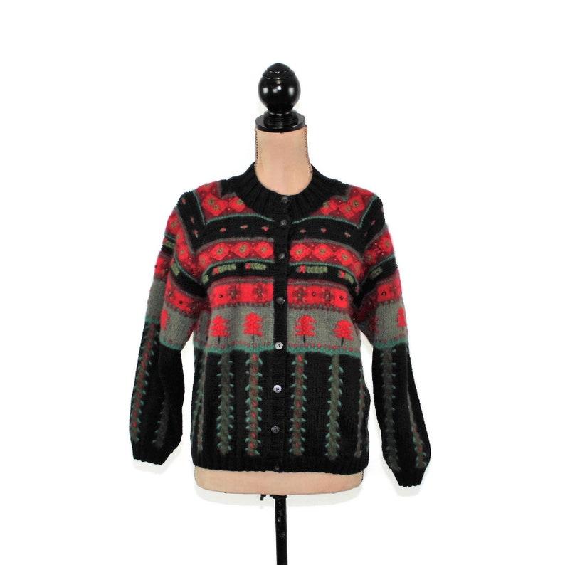 Christmas Cardigan Women Small Petite Talbots Cotton Wool