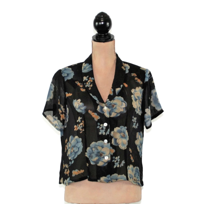 9f90604e894127 Details about Women's Mesh Semi Sheer See Through Short Sleeve Floral  Embroidery T-Shirt Top. image 0 .