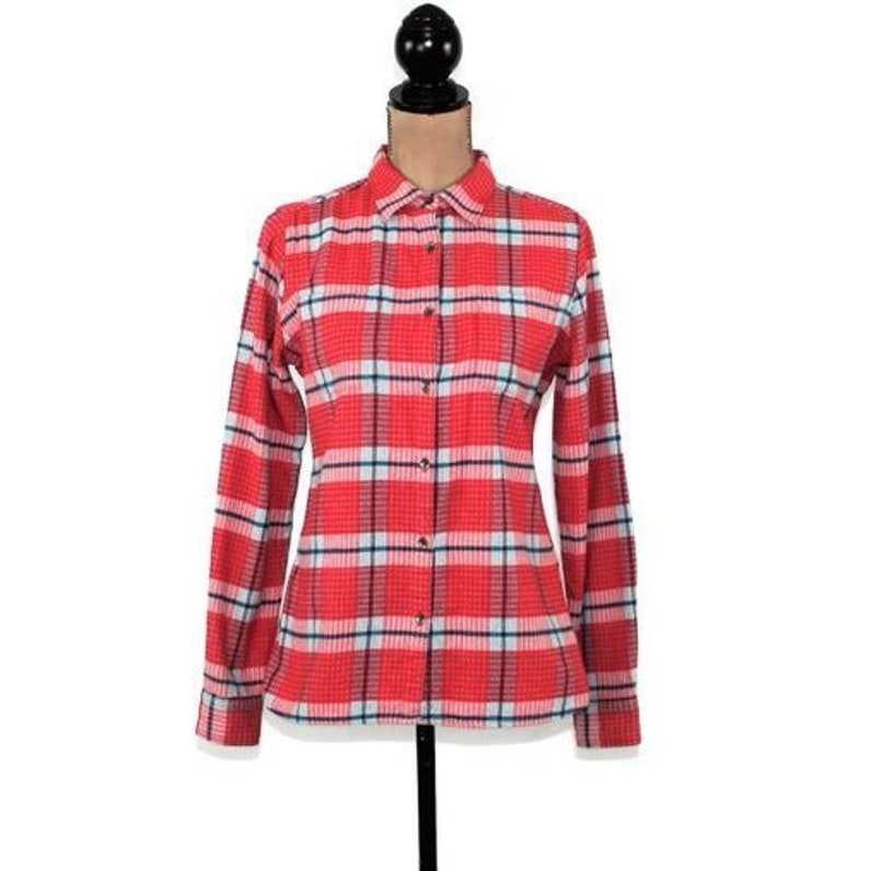 512c2a056 Red Plaid Flannel Shirt Women Small Petite Long Sleeve Button | Etsy