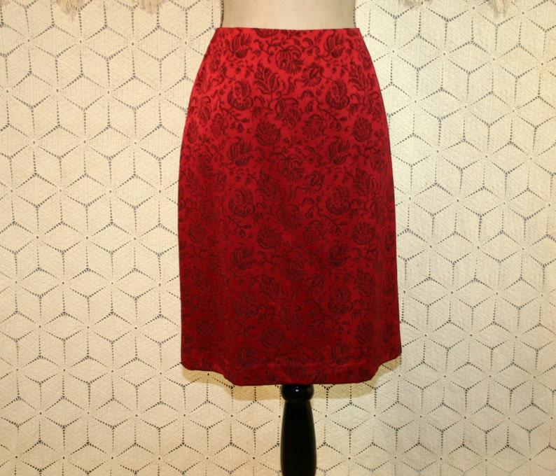 d4dde119e Red Skirt Size 8 Midi Pencil Skirt Medium Jacquard Damask 80s | Etsy
