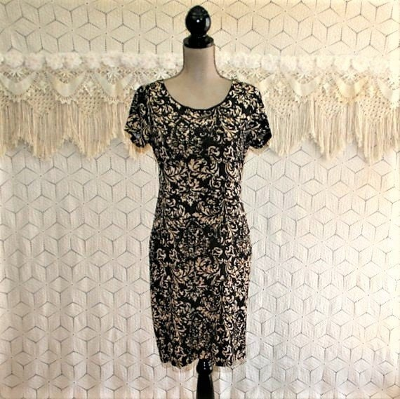 39d89a6ac887 Scoop Neck Knit Dress Short Sleeve Midi Dress Brown   Beige