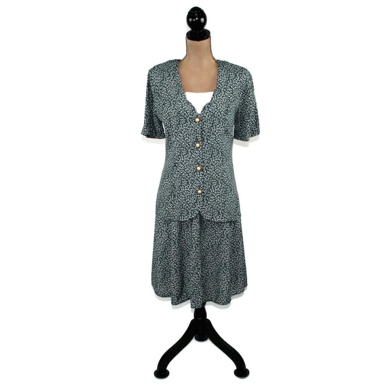 d47d7dfb245a 90s Short Sleeve Midi Skirt Suit Dress Size 10 Rayon A Line