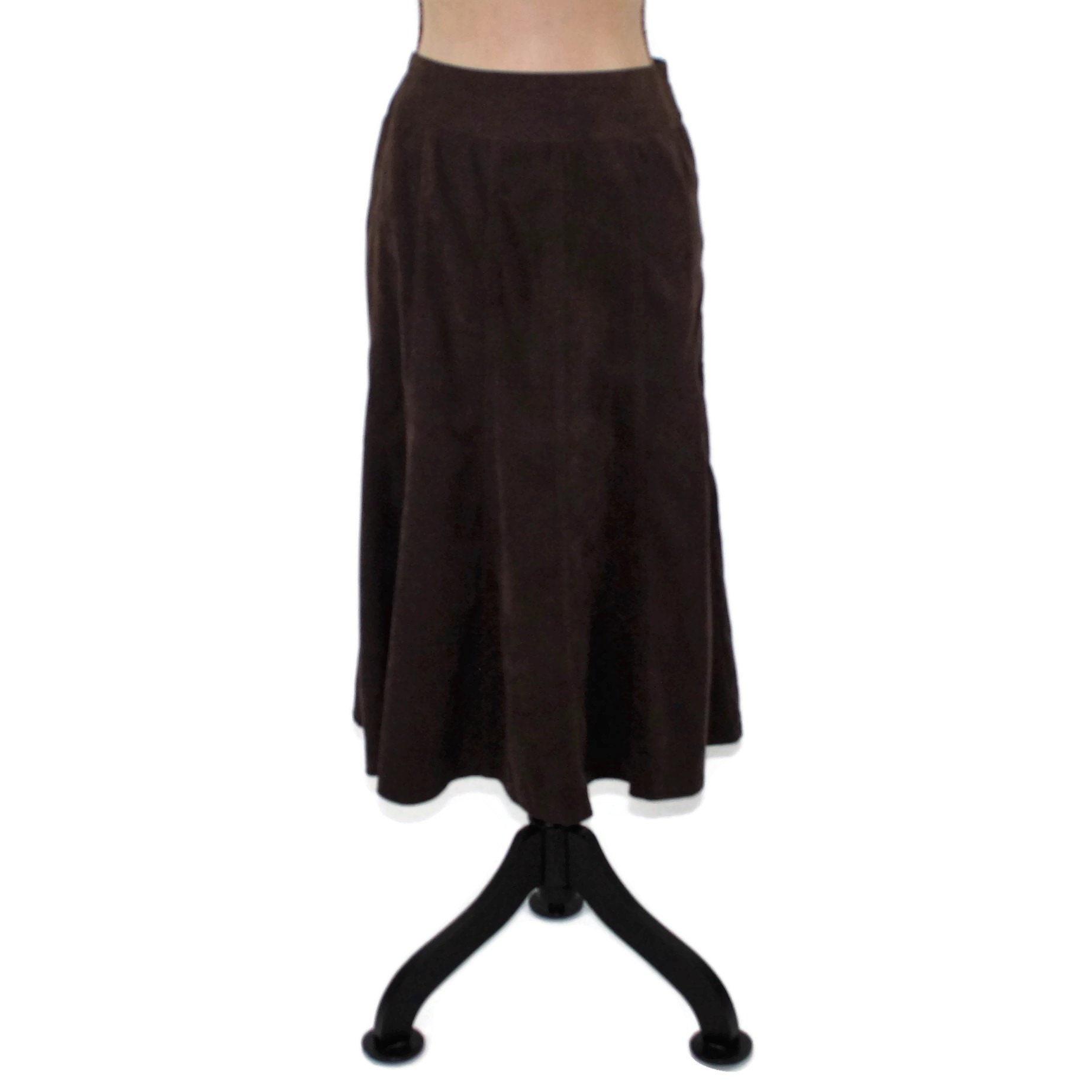 1982f4cee58 Dark Brown Skirt Women Medium Large Flared Midi Skirt Casual   Etsy