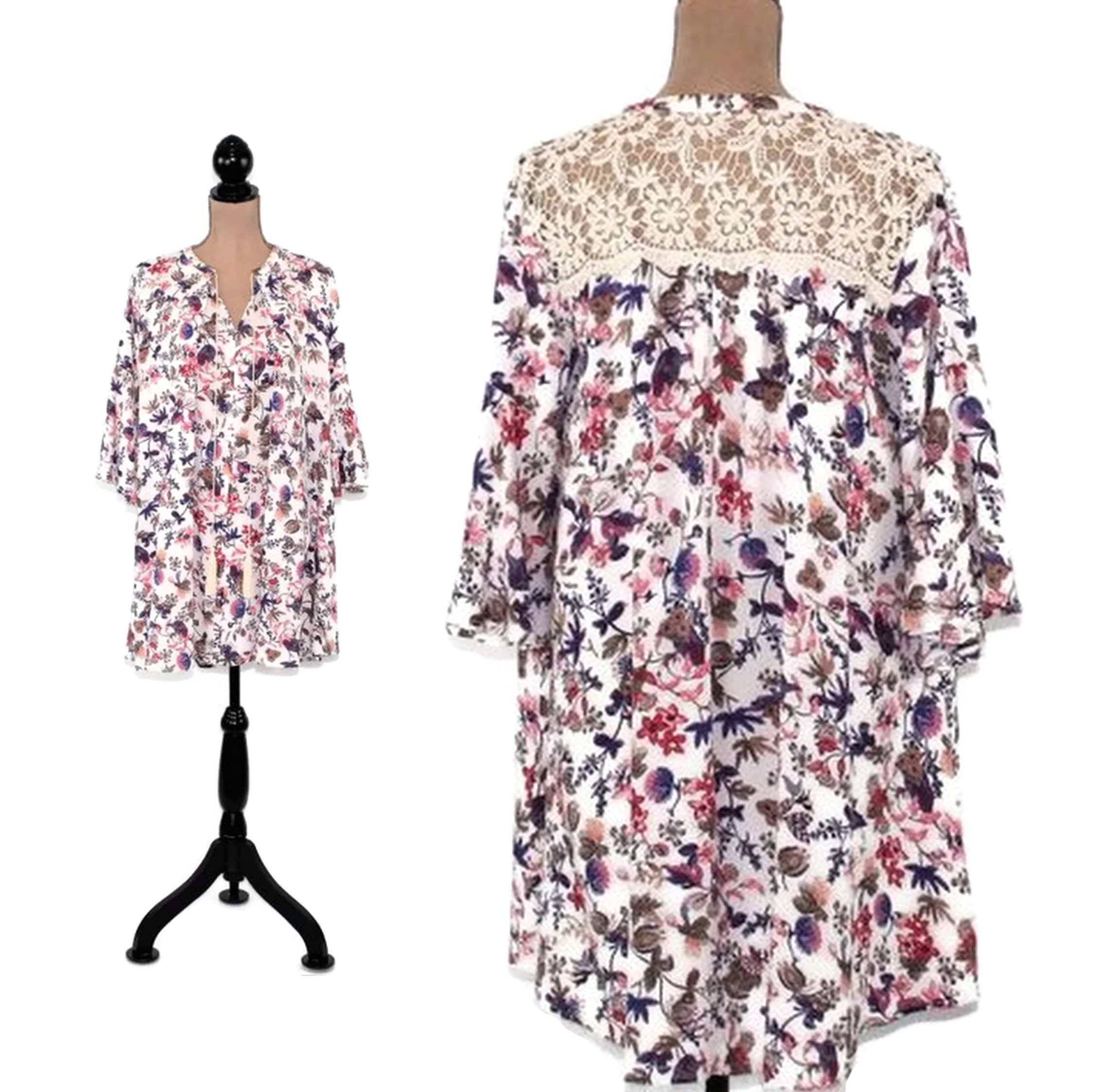 84a540cecf3 White Floral Dress Boho Mini Bell Sleeve Spring Summer Loose
