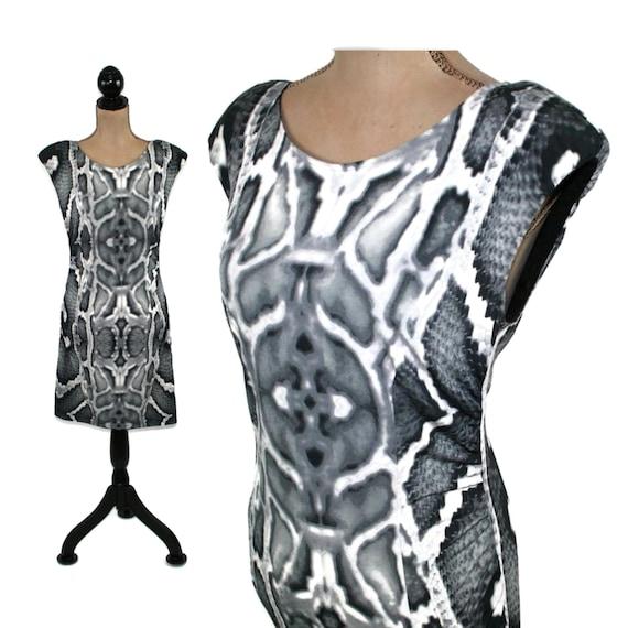 Bodycon Mini Dress Women Medium, Snakeskin Print J