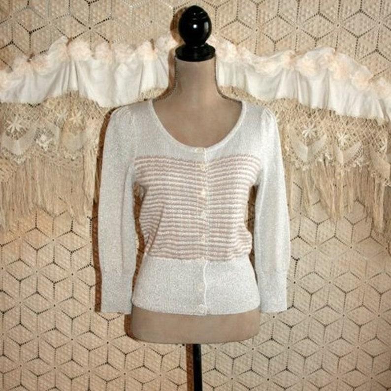3323059120a0cc Silver Gray   Gold Metallic Knit Cardigan Sweater Women Small