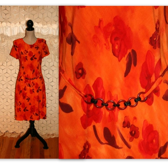 01c6f416a768 90s Rust Orange Floral Dress Women Medium Rayon Short Sleeve