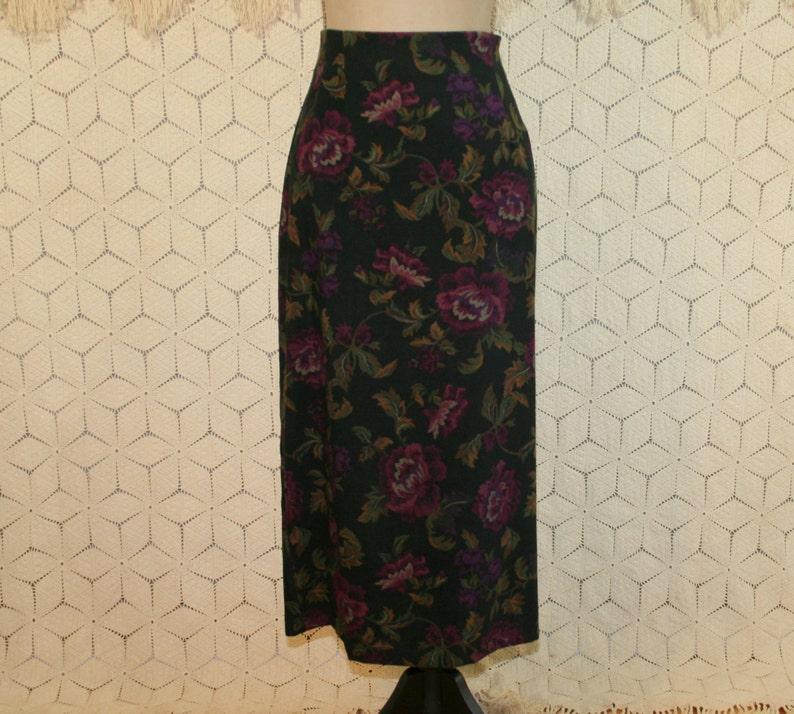 6d33abfad1 90s Petite Maxi Skirt Women Black Floral Skirt Long Pencil | Etsy