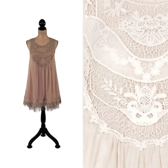 Romantic Boho Dress Sleeveless Layered Tulle and Lace Short Summer Party Dress Women Clothing Small Medium Large Available in Mocha or Cream
