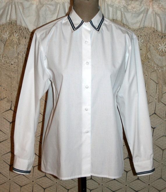 5f71ea1961473e Long Sleeve White Blouse Button Up Shirt Women Medium Large