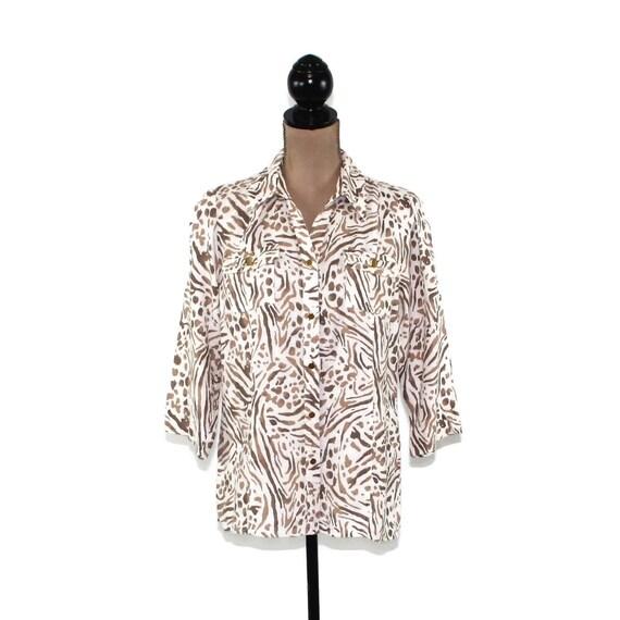 b4add0536a7 Linen Shirt Women Medium Petite Size 10 White and Brown Animal