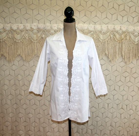 White Jacket Eyelet Cotton Jacket Open Summer Jacket Medium  376b071e9