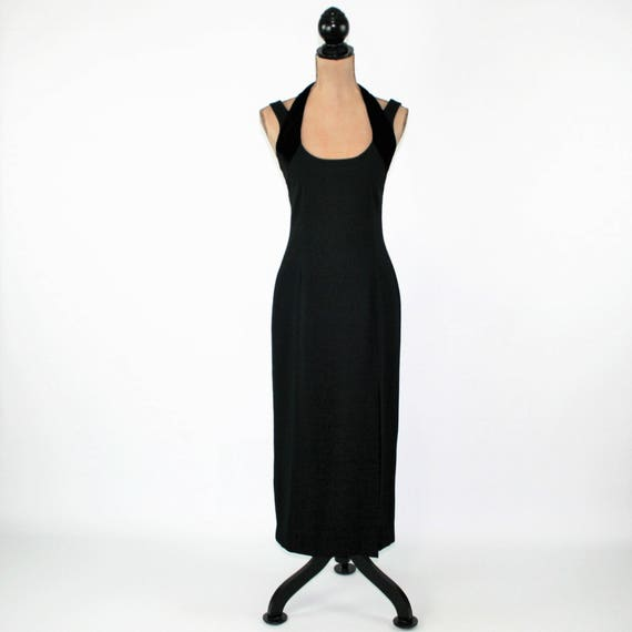 80s Black Formal Dress Sexy Black Cocktail Dress Small Velvet Etsy