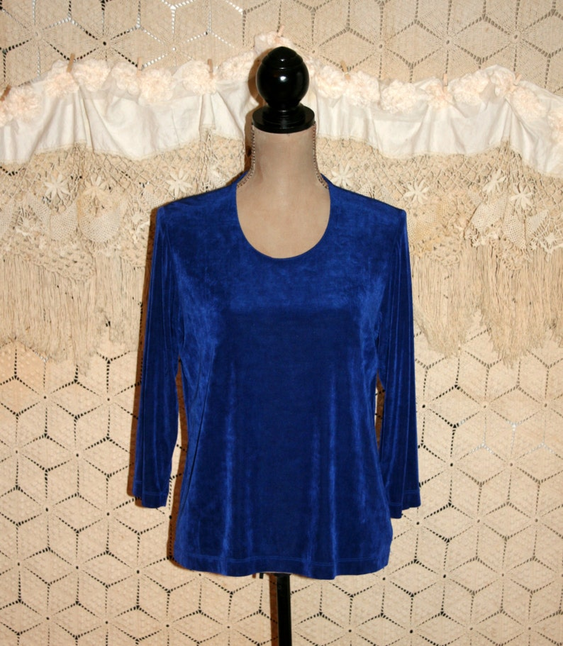 980766fead741 ... Royal Blue Tops for Women Small Medium Scoop Neck Knit Blouse Etsy
