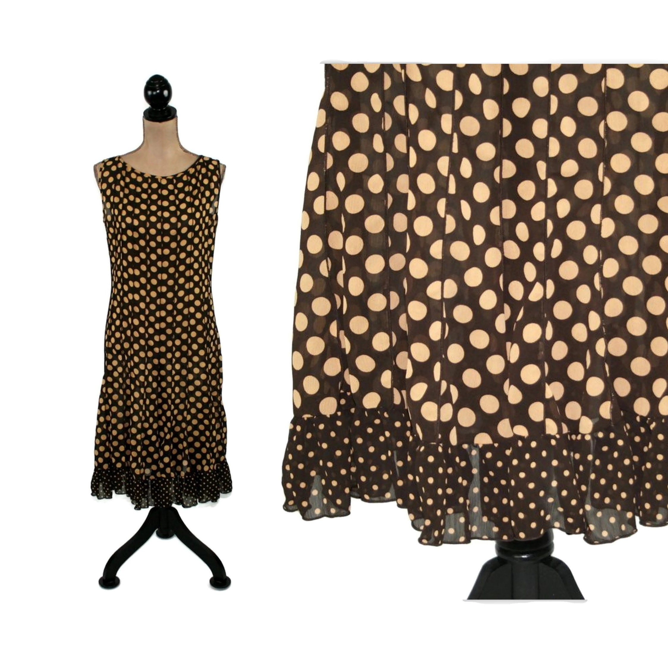 Brown chiffon polka dot dress