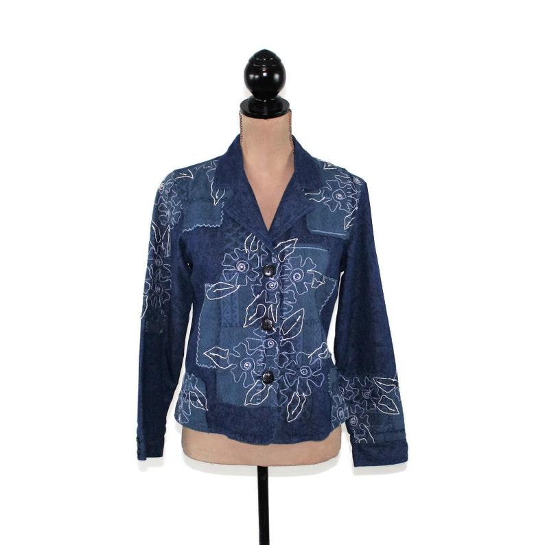 e3f3b5344d7 Denim Blue Cotton Flower Embroidered Patchwork Jacket Hippie | Etsy