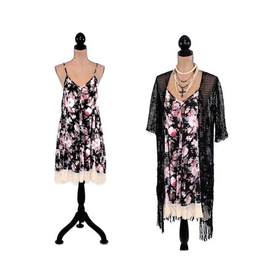 a312ca0e648 Black Floral Dress Boho Summer Dress Spaghetti Strap Floral Grunge Rayon  Romantic Flowy with Lace Hem Babydoll Dresses for Women