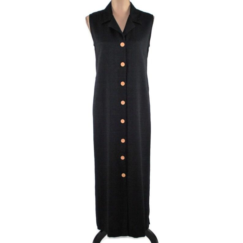 9555adf8a88a2 90s Sleeveless Maxi Dress Long Black Button Up Dress Women