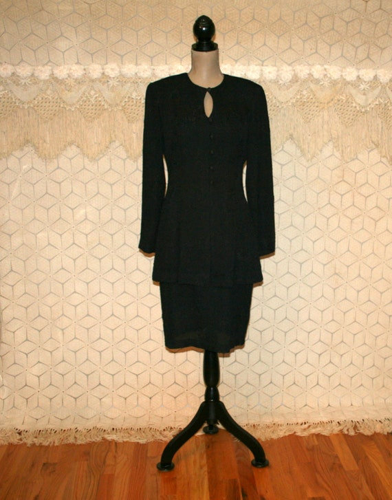 85a65334fae des années 90 à manches longues robe noire moyenne Midi équipé
