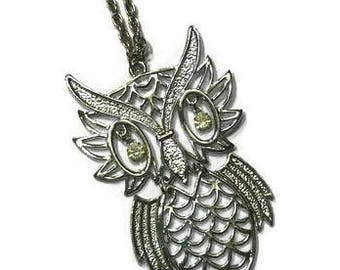 Vintage 1970s Owl Necklace, Boho Owl Pendant, Costume Jewelry