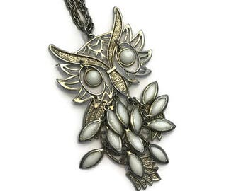 Boho Owl Pendant Necklace, Vintage 1970s Owl Necklace, Double Chain Pendant Necklace, Costume Jewelry