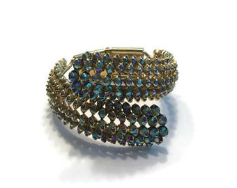 Vintage Rhinestone Clamper Bracelet, Gold Tone and Aurora Borealis Rhinestone Clamper Bangle, Costume Jewelry