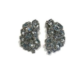 Signed Weiss Earrings, Rhinestone Earrings, 1950s Clip Earrings, Costume Jewelry, Wedding Bridal Jewelry