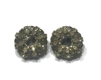 Signed Warner Earrings, Smoky Grey Rhinestone Earrings, Clip Earrings, Costume Jewelry