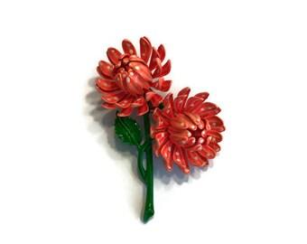 Orange Polka Dot Flower Brooch, Vintage 1960s Enamel Flower Pin, Mod Flower Power Jewelry, Costume Jewelry