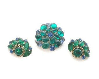 Vintage Green and Blue Rhinestone Brooch and Earring Set, 1950s 1960s Demi Parure, Clip Earrings, Costume Jewelry