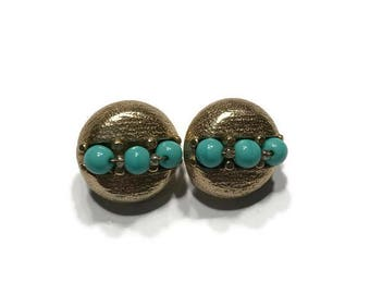 Signed Crown Trifari Earrings, 1960s Silvertone Earrings with Turquoise Beads, Vintage Clip Earrings, Costume Jewelry