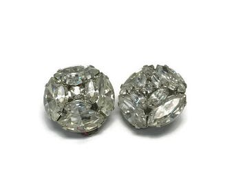 Vintage Signed Weiss Earrings, Rhinestone Earrings, 1950s Clip Earrings, Costume Jewelry, Wedding Bridal Jewelry