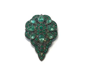 Green Rhinestone Dress Clip, 1930s 1940s Dress Clip, Faux Emeralds, Costume Jewelry
