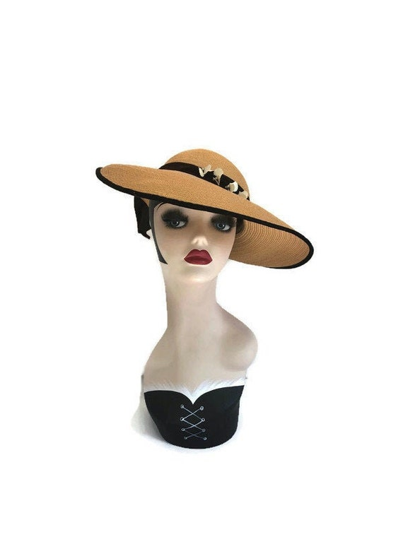 Vintage 1950s Tan Straw Wide Brim Picture Hat with